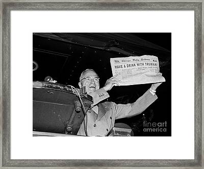 Have A Drink With Truman Framed Print by Jon Neidert