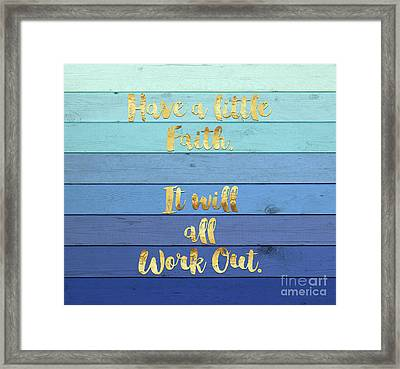 Have A Little Faith Blue Ombre Wood Gold Text Art Framed Print