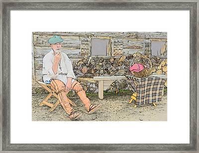Having A Pipe Framed Print by Robert Nelson