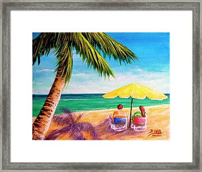 Hawaii Beach Yellow Umbrella #470 Framed Print by Donald k Hall
