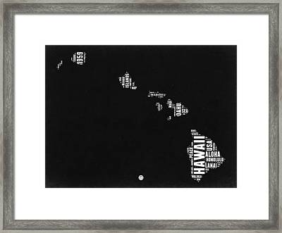 Hawaii Black And White Map Framed Print by Naxart Studio