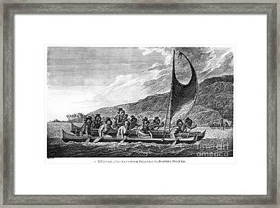 Hawaii: Canoe, 1779 Framed Print by Granger