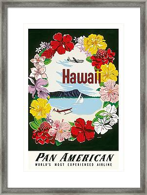 Hawaii Flower Lei And Diamond Head Crater Vintage Hawaiian Travel Poster By A. Amspoker  Framed Print