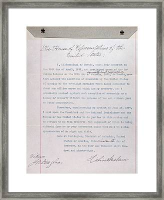 Hawaii. Letter From Liliuokalani, Queen Framed Print