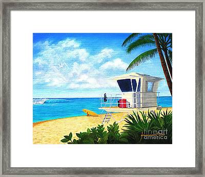 Hawaii North Shore Banzai Pipeline Framed Print by Jerome Stumphauzer