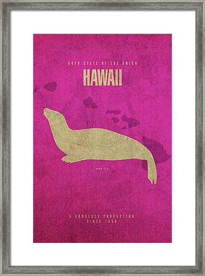 Hawaii State Facts Minimalist Movie Poster Art Framed Print