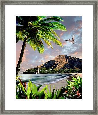 Hawaii Sunset Framed Print by Ron Chambers