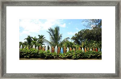 Hawaii Surfboard Fence Framed Print by Michael Ledray