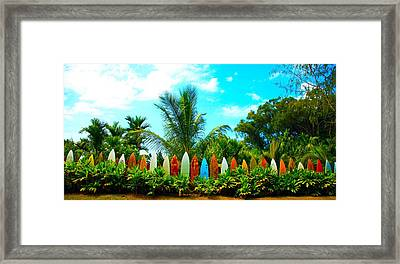 Hawaii Surfboard Fence Photograph  Framed Print