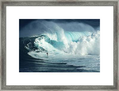 Hawaii Surfing Jaws 1 Framed Print by Bob Christopher