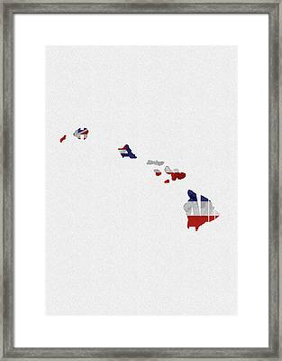 Framed Print featuring the painting Hawaii Typographic Map Flag by Inspirowl Design