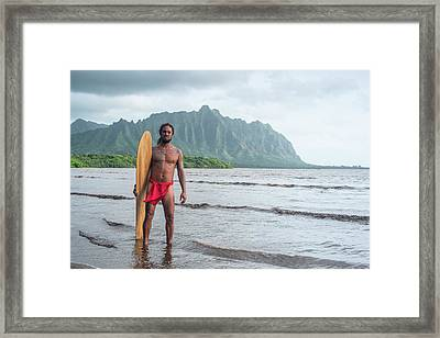 Hawaiian Alaia Surfer Framed Print