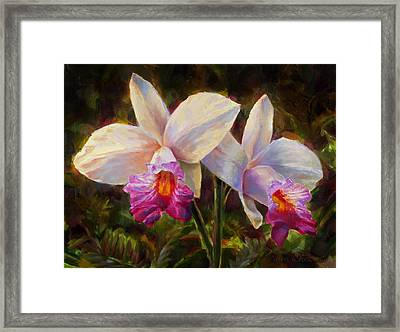 Hawaiian Bamboo Orchid Framed Print by Karen Whitworth