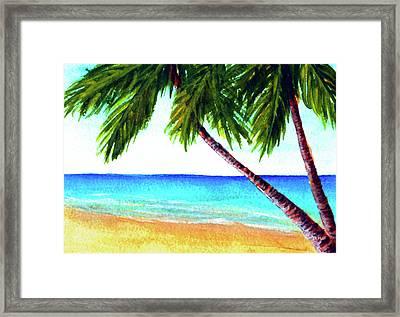 Hawaiian Beach Palm Trees  #425 Framed Print by Donald k Hall