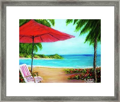 Hawaiian Beach Wave Art Print Painting #441 Framed Print by Donald k Hall