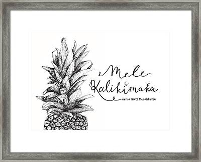 Framed Print featuring the drawing Hawaiian Christmas by Nancy Ingersoll