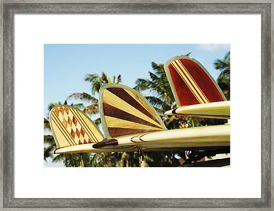 Hawaiian Design Surfboards Framed Print by Vince Cavataio - Printscapes