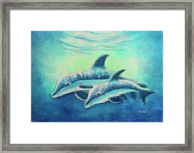 Hawaiian Dolphins  #389 Framed Print by Donald k Hall