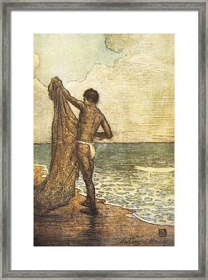 Hawaiian Fisherman Painting Framed Print by Hawaiian Legacy Archive - Printscapes