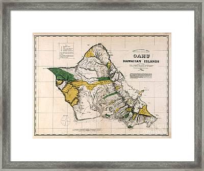 Hawaiian  Islands Map 1881 Framed Print by Jon Neidert