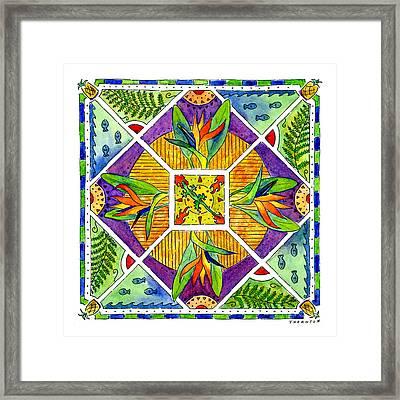 Hawaiian Mandala II - Bird Of Paradise Framed Print