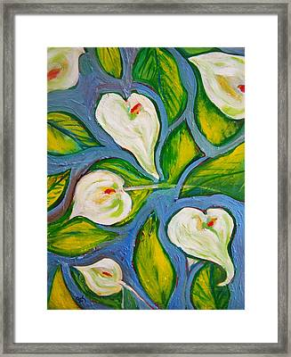 Hawaiian Print With Calla Lilies Framed Print by Patricia Taylor