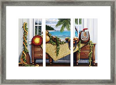 Hawaiian Still Life With Haleiwa On My Mind Framed Print by Sandra Blazel - Printscapes