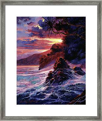Hawaiian Sunset - Kauai Framed Print by David Lloyd Glover