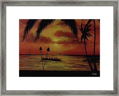 Hawaiian Sunset Paddlers #283 Framed Print by Donald k Hall