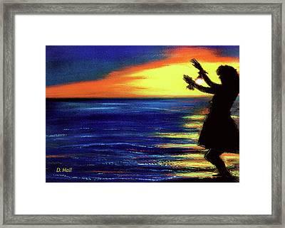 Hawaiian Sunset With Hula Dance  #183, Framed Print by Donald k Hall