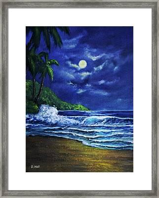 Hawaiian Tropical Ocean Moonscape Seascape #377 Framed Print by Donald k Hall