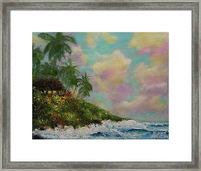 Hawaiian  Twilight Beach Wave Art Print Painting #423 Framed Print by Donald k Hall