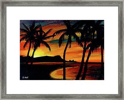 Hawaiian Waikiki Sunrise Over Diamond Head  #266 Framed Print by Donald k Hall
