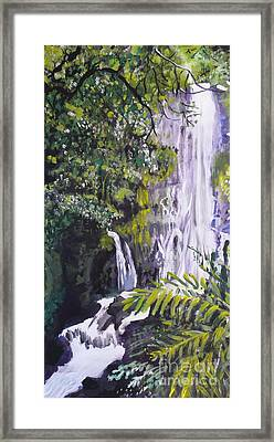 Framed Print featuring the painting Hawaiian Waterfall by Terri Thompson