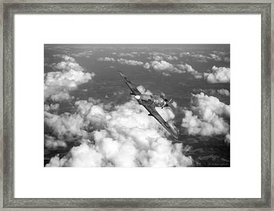 Framed Print featuring the photograph Hawker Hurricane IIb Of 174 Squadron Bw Version by Gary Eason