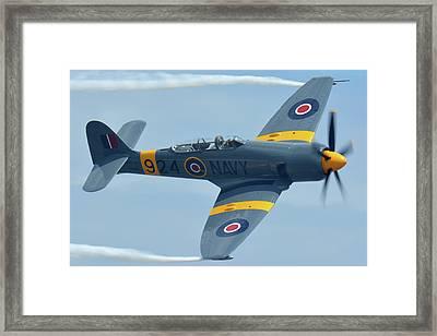 Framed Print featuring the photograph Hawker Sea Fury T20 N924g Chino California April 30 2016 by Brian Lockett