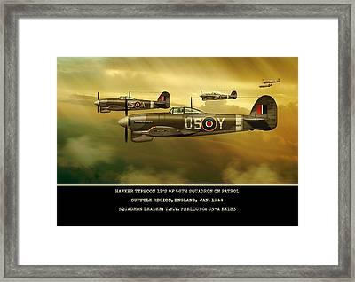 Framed Print featuring the digital art Hawker Typhoon Sqn 56 by John Wills