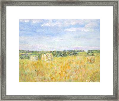 Hay And Bales In The Countryside Framed Print by Glenda Crigger