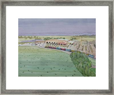 Hay And Trains Field Framed Print by Bethany Lee