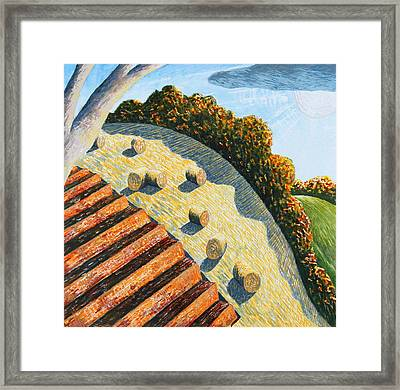 Hay Bales And Hillside Framed Print by Adrian Jones