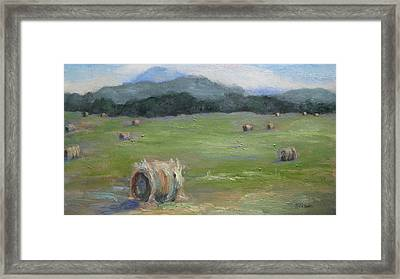 Hay Bales And Pinnacle Framed Print