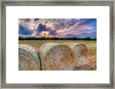 Hay Bales At Sunset Framed Print by Tim Stanley