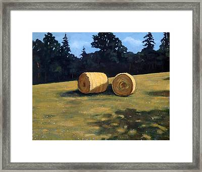 Hay Bales In The Morning Framed Print