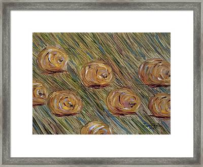 Framed Print featuring the painting Hay Bales by Judith Rhue