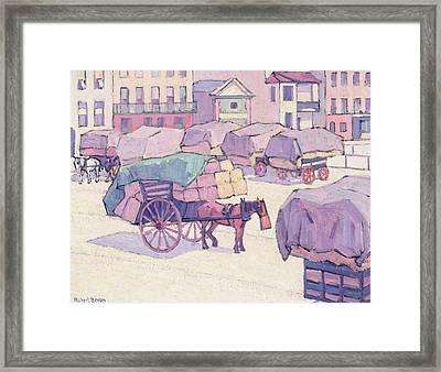 Hay Carts - Cumberland Market Framed Print by Robert Polhill Bevan