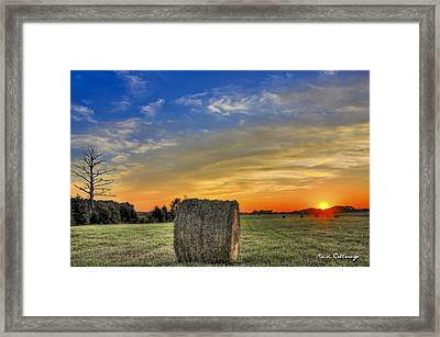 Hay Down Sunset Framed Print by Reid Callaway