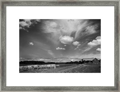 Hay Field And Barn Clarks Lake Road Framed Print by Stephen Mack