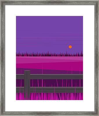 Hay Fields At Twilight Framed Print