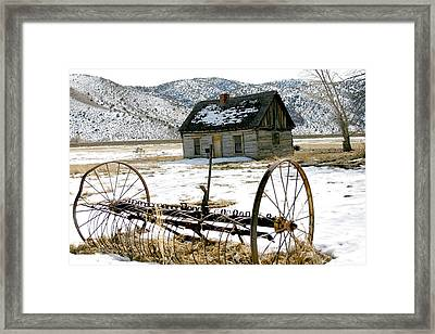 Hay Rake At Butch Cassidy Framed Print by Nelson and Cheryl Strong