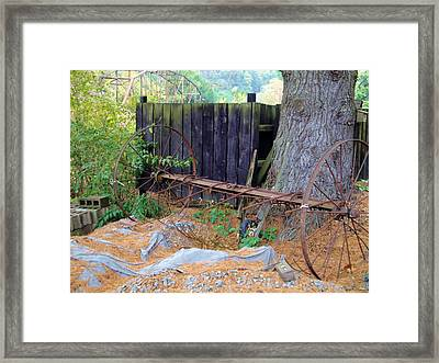 Hay Rake Composition Framed Print by Terry  Wiley